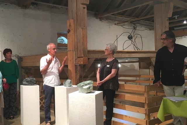 De g. à dr.: Renée Furrer, Luc Tiercy, Janine Lanfranconi (responsable de l'Espace Culturel d'Assens) et Thierry Wenger.